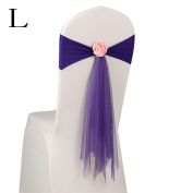 Kingko® 45cm Organza Sashes Chair Cover Bows Sash Wider Sash Fuller Bows for Wedding Anniversary Party Banquet Colour