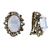 Clearine Women's Victorian Style Crystal Floral Cameo Inspired Oval Clip-On Stud Earrings