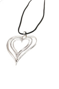 Ladies Womens Lagenlook Quirky 3 Large Heart Rings Statement Chain Strand Pendant Fashion Dress Gift Jewellery Necklace
