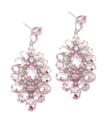 Jewellery Ant Hony Glamour with Long Earrings Crystal Pastel Pink 7 cm Long