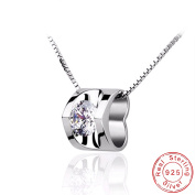 Pendant Necklace – Heart Pendant with CZ – Sterling Silver 925/1000