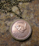 1940 Wren Farthing on a 46cm Bronze Finish Necklace Handmade in Cornwall
