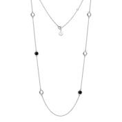 Natural Black Onyx, White Topaz Gemstone Necklace 11g 925 Sterling Silver 81cm