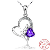 'Pendant Necklace – ' Love 'Heart Pendant with CZ – Sterling Silver 925/1000