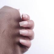 24pcs 12 Different Size Winter Candy Solid Nude Medium Length Square Full Cover False Nails with Design