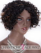 Chantiche Natural Black Curly Wigs with Brown Highlight Short Synthetic Wigs for Black Women #1B Machine Made Wig + Free Wig Cap