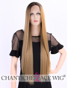 Chantiche Straight Long Lace Front Wig Mixed Blonde Dark Roots Ombre Synthetic Wigs for Women +Free Wig Cap 60cm