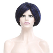 Women's Fashion Royal Blue Short Straight Cosplay Wig with Cap 30cm Gradual Colour