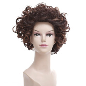 Women's Fashion Brown Short Curly Cosplay Wig with Cap Gradual Colour