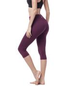 Lapasa Women's Slimming Capris - SOFT WIDE WAISTBAND - Running Yoga Pants Wide Waistband Hidden Pocket