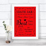 Red Date Jar Guestbook Personalised Wedding Sign