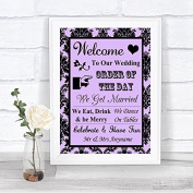 Lilac Damask Welcome Order Of The Day Personalised Wedding Sign