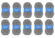 Lot 10 Balls of Wool 100% Acrylic Knitting Crochet Knit – Grey – 3074 Azurite