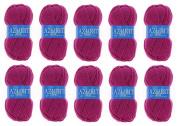 Lot 10 Balls of Wool 100% Acrylic Knitting Yarn – Raspberry Hook – Azurite 0283