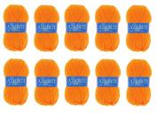 Lot 10 Balls of Wool 100% Acrylic Knitting Crochet Knit – Orange – Azurite 007