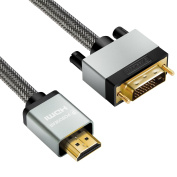 HDMI to DVI Cable 2M, Posugear Nylon Braided Bi-Directional HDMI HDTV to DVI Cable Gold Plated Support 1080P for Blu Ray Player, PS 4, Nintendo Wii, Plasma, DVD, Computer, HDTV, Projector and More