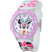 Disney Minnie Mouse Girls' Stainless Steel Glitz Case and Bezel Watch, Printed Fabric Strap