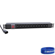 Eagle P710EJ 12-Way IEC C13 Horizontal Socket 48cm PDU to C14 Plug