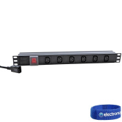 Eagle P710EK 6-Way IEC C13 Horizontal Socket 48cm PDU to C14 Plug