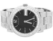 Gucci White Gold YA101305 40 MM Full Diamond Custom Gucci Watch 7 Ct