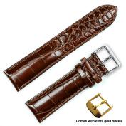 deBeer brand Crocodile Grain Watch Band - Brown (Long Length) 20mm