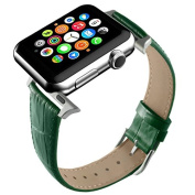Apple Watch Band, Green Replacement Genuine Leather Strap for iWatch 20mm with Adaper