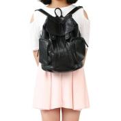 Women Ladies Casual Backpack PU Leather Shoulder Bags Backpack Travelling Rucksack School Bags Black Sufficient Capacity