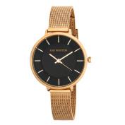 Ray Winton Women's WI0813 Black Dial Rose Gold Steel Mesh Bracelet Watch
