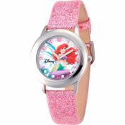 Disney Ariel Girls' Stainless Steel Watch, Pink Strap