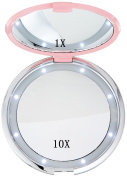 LED Vanity Mirror, 1x/10x Round Magnifying Mirror, Fushop Compact Double Sided Folding Makeup Mirror,Rhinestone Mirror Design, Handheld Led Light Mirror for Travel, Cosmetic Beauty Essentials