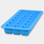 Daptsy Silicone Ice Cube Trays with Lids Easy-Release and Flexible Rubber 24 Ice Cubes Moulds with Removable Cover for Whiskey, juice, Sport Drinks-Blue