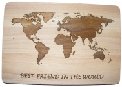 BEST FRIEND IN THE WORLD BFF BESTY BESTIE GIFT IDEA HARDWOOD CHOPPING CUTTING CHEESE BOARD PLACE MAT COOK WOODEN WOOD KITCHEN COOKING BAKING PRESENT LASER ENGRAVED