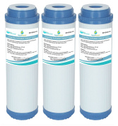 3x GAC-10 AquaHouse 25cm GAC Granular Activated Carbon Water Filter Cartridge for Reverse Osmosis, Whole House, Drinking water