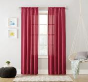 No. 918 Marley Semi Sheer Rod Pocket Curtain Panel, 100cm x 240cm , Berry Purple