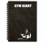 Gym Diary, Wire Bound, A5, Exercise Log Book Journal, Weight Training, Body Building Diary, Goals and Gains