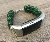 Green Jade Natural Stones Bracelet For Fitbit Charge 2 Fitness Tracker Natural Beads Band Silver Connectors Fitbit Charge 2 Handmade Accessory Fashion Jewellery Wristband 20cm Size
