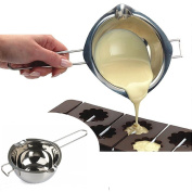 Liangxiang 18/8 Stainless Steel Universal Melting Pot, Double Boiler Insert, Double Spouts, Heat-resistant Handle, Flat Bottom, Melted Butter Chocolate cheese caramel