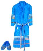 Casa Copenhagen Exotic Terry Cotton Unisex Bathrobe & Slipper Set, Blue Jewel