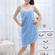 AllRight Womens Wearable Bath Towel, Highly Soft Absorbent Microfibre SPA Shower Towel Body Wrap Bath Skirt Blue