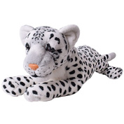 te-trend Soft Toy Leopard White Spotted Large Cat Lying Creeping Plush Fur Decoration 80cm