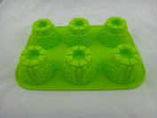 Queling Flexible Round Soap Cake Muffin Chocolate Silicone Mould 6-Cavity