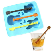 Tree in Art Guitar 3 Grid Silicone Cake Cookie Candy Chocolate Mould Baking Tray Stick Mould
