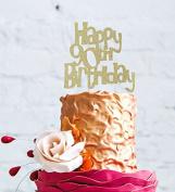 Happy 90th Birthday Cake Topper - Gold