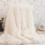 Faux Fur TV Decorative/Blanket Air Conditioning Blanket Microfibre Fleece Blanket with Fleece Soft Soft and Fluffy, White, 160 x 200 cm