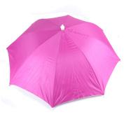 Outdoors Sports Elastic Headband Handfree Umbrella Headwear Hat Fuchsia