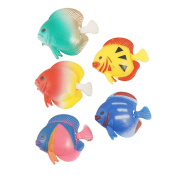 5 Pcs Artificial Wiggly Tail Tropical Fish for Fish Tank