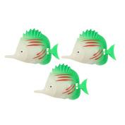 Unique Bargains Aquarium Wiggled Tail Tri Colour Striped Faux Fish 3 Pcs