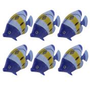 Unique Bargains 6Pieces Aquarium Blue Yellow Emulational Plastic Wiggly Tail Fish Decoration