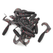 Unique Bargains20 Pcs Red Glitters Detail Silicone Fishing Soft Lures Baits Black
