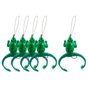 5 Pcs Green Soft Silicone Frog Shaped Fishing Lures Barb Hook